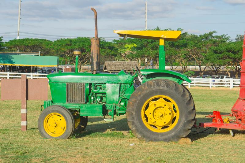 Modern green tractors in agriculture stock photography