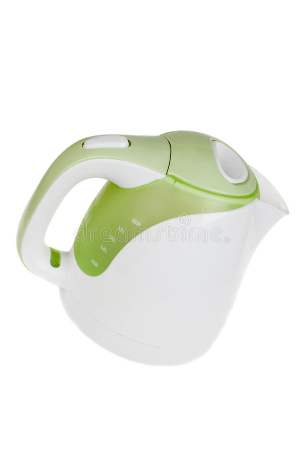 Modern green white electric kettle, kitchen equipment, isolated on white. Background royalty free stock image