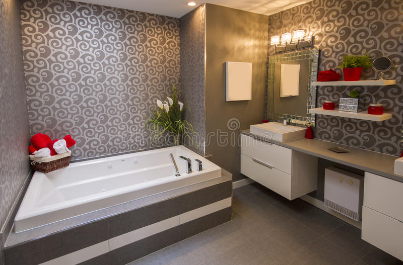 Download Modern grey bathroom stock photo. Image of fittings, home - 29852182