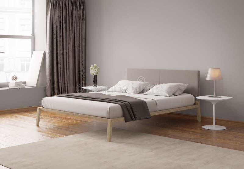 Modern grey bedroom interior royalty free stock photo