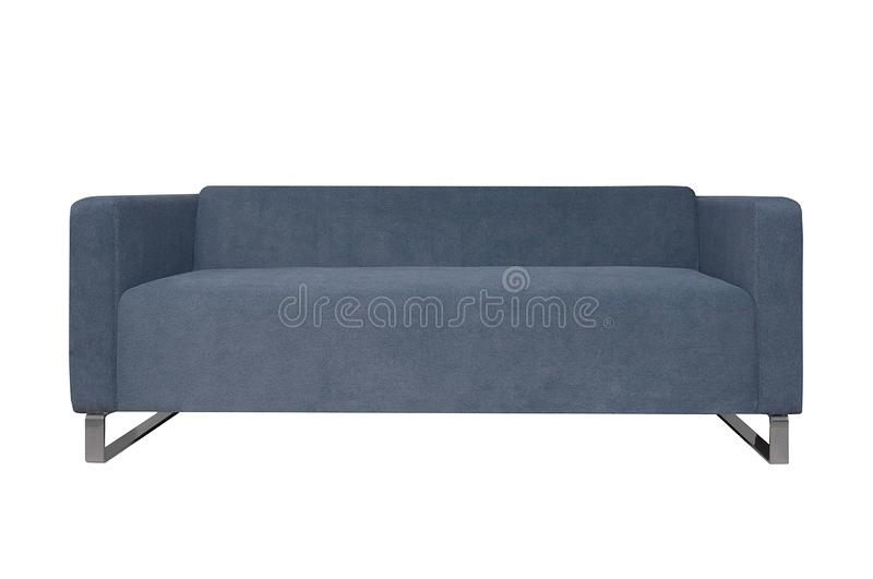 Modern grey fabric sofa isolated on white background. Front view stock photo