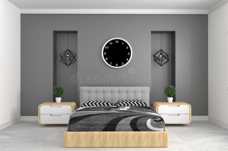 Modern grijs slaapkamerbinnenland met kloklamp en installaties op kabinetten Frontale mening het 3d teruggeven royalty-vrije illustratie