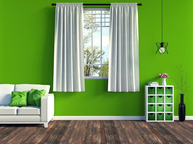 Modern groen woonkamerbinnenland met wit bank en meubilair en oude houten bevloering stock foto's