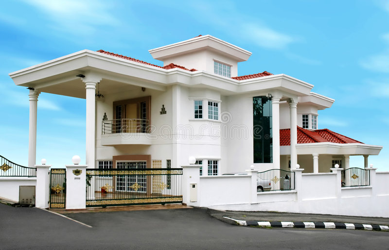 Modern groot huis stock fotografie