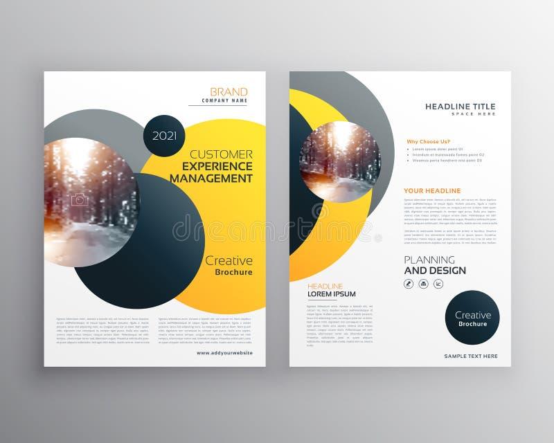 Modern gul geometrisk mall för reklambladaffischdesign stock illustrationer