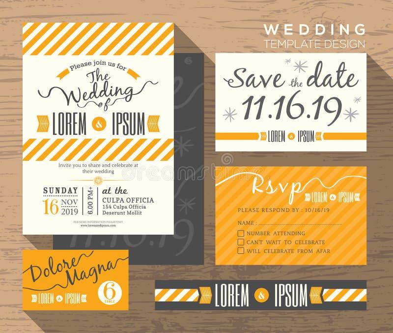 Modern gul mall för fastställd design för bandbröllopinbjudan royaltyfri illustrationer