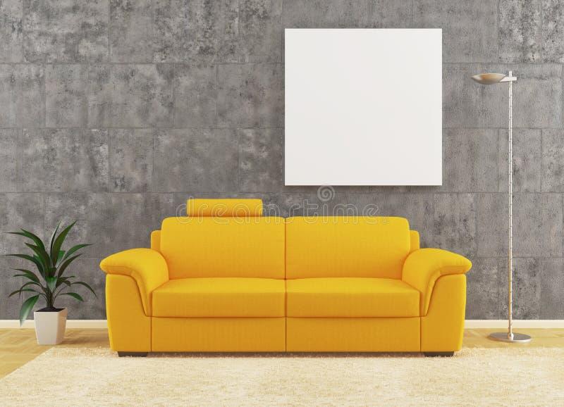 Modern gul sofa på smutsig vägginredesign