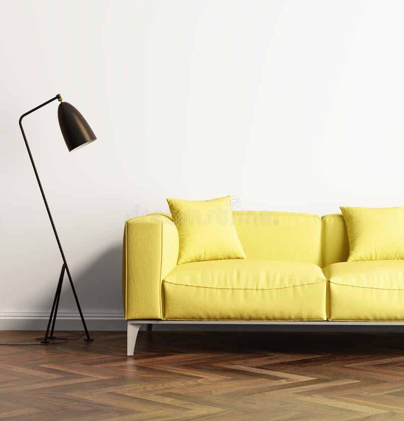 Modern gul soffa i en ny vardagsrum fotografering för bildbyråer