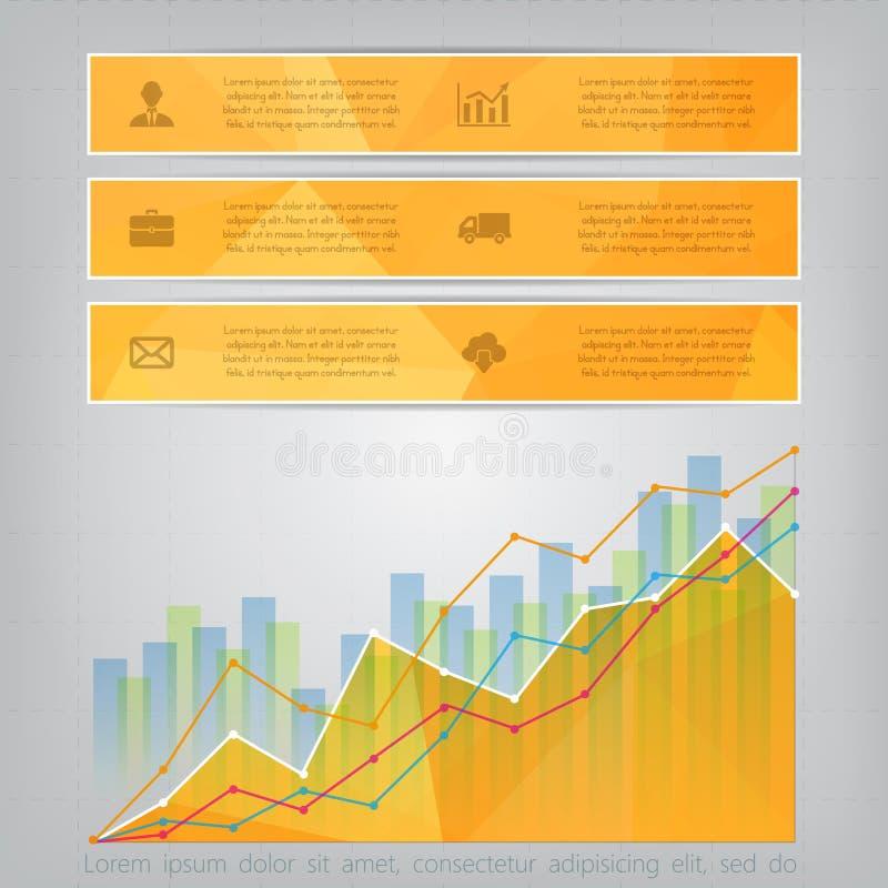 Modern gul triangulär stilaffär Infographics med abstra royaltyfri illustrationer