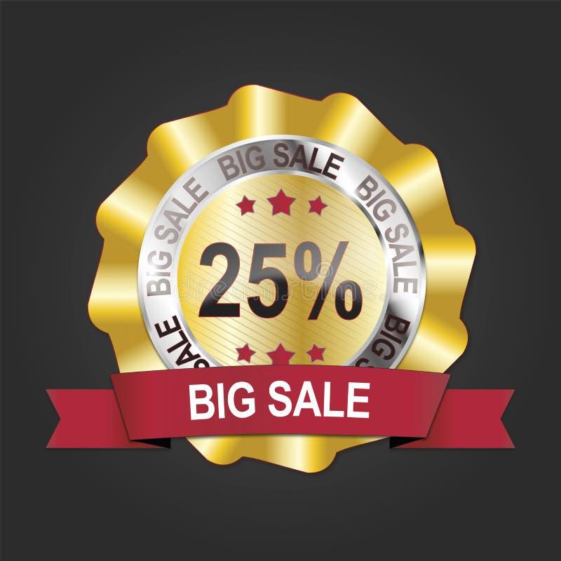 modern 25% guld- stor etikett för medalj för försäljningsbaneremblem vektor illustrationer