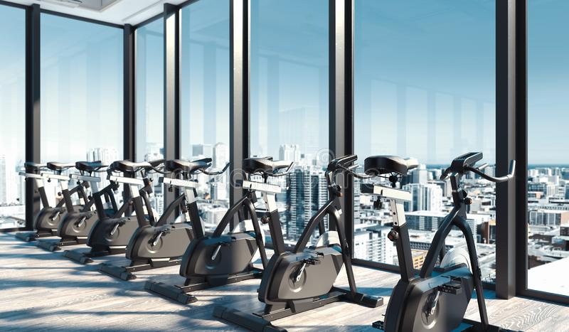 Modern gym with exercise bikes near big panoramic windows in skyscraper, 3d rendering. stock photo
