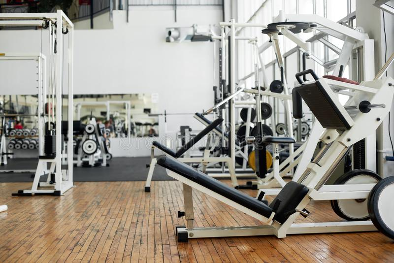 Modern gym interior with equipment. stock images