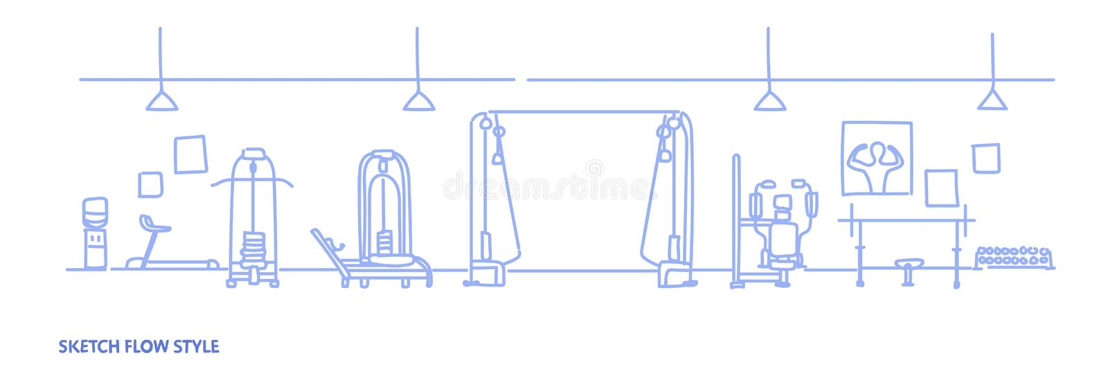 Modern gym interior equipment for workout empty no people health fitness club sketch flow style horizontal. Vector illustration vector illustration