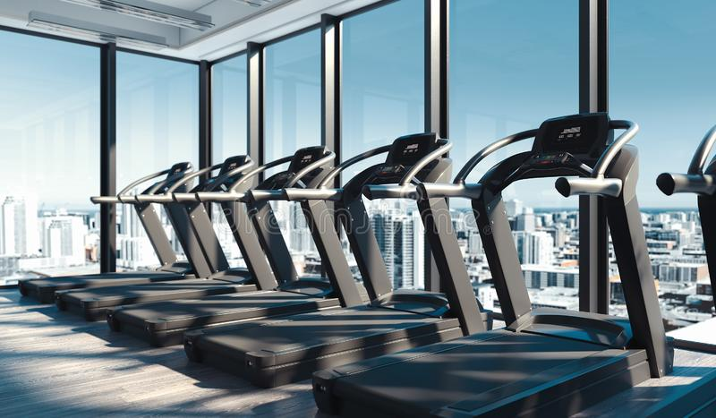 Modern gym with Treadmills near big panoramic windows in skyscraper, 3d rendering. royalty free stock photos