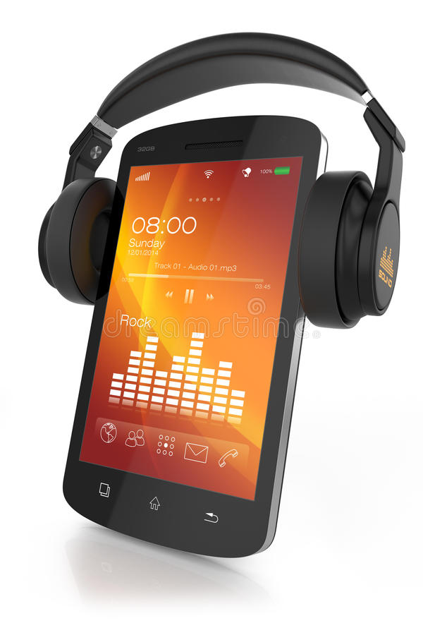 Modern hörlurar på den musikaliska smartphonen vektor illustrationer