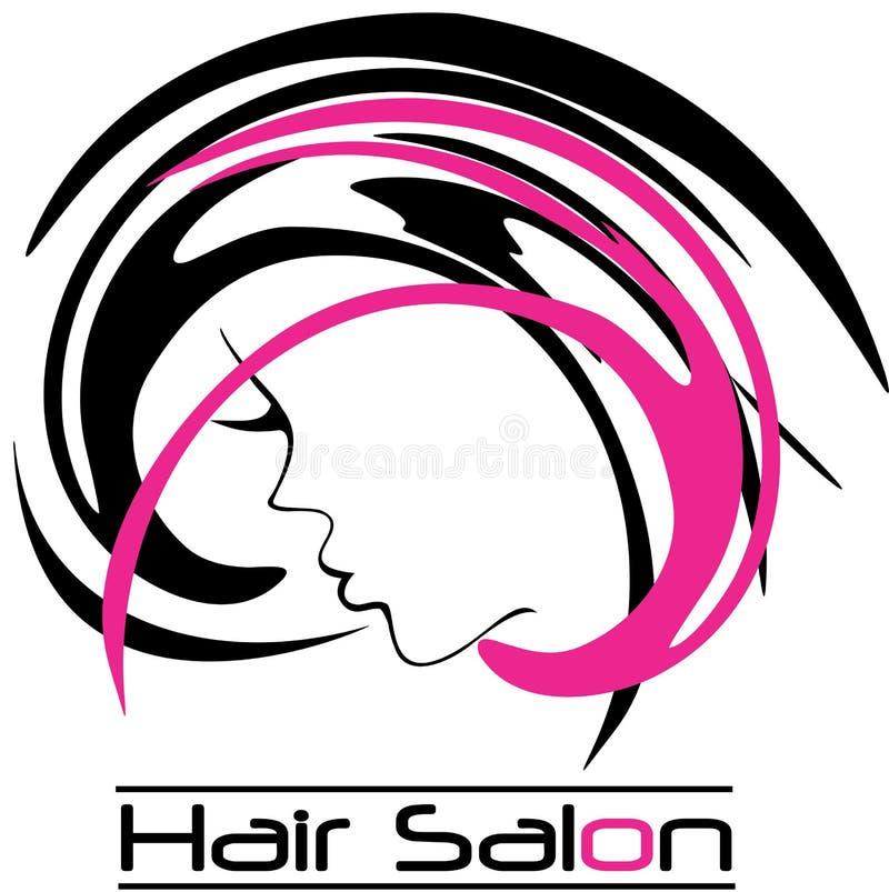 Modern Hair Salon Logo. Hair Salon Logo Girl Face with pink and black hair vector illustration