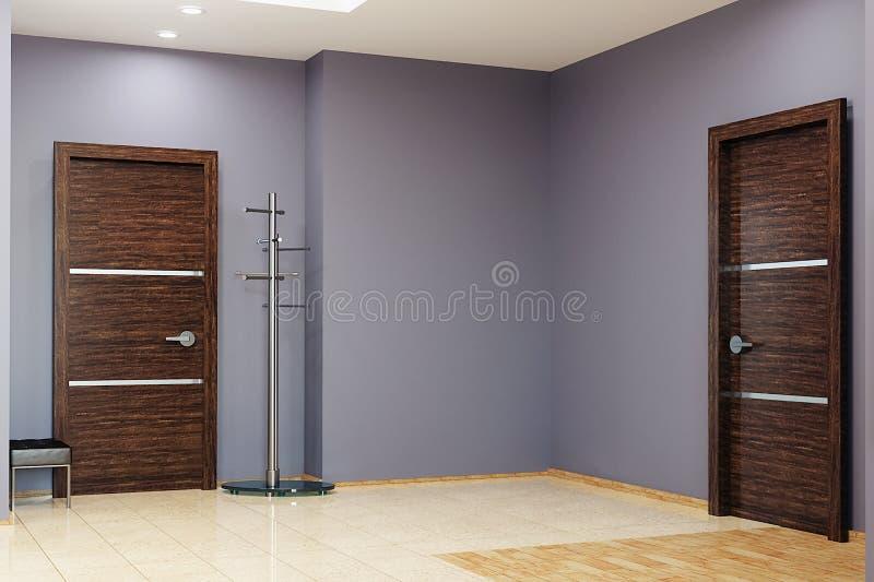 Modern hallway interior , wooden doors and fashionable steel clothes hanger. 3d rendering stock illustration
