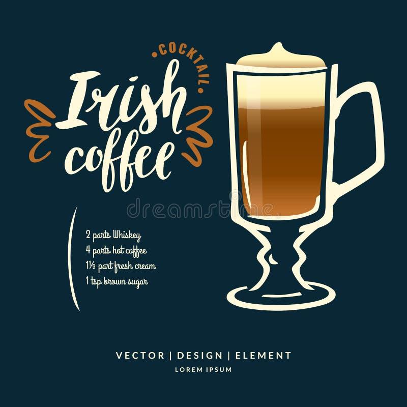 Modern hand dragen bokstäveretikett för irländskt kaffe för alkoholcoctail stock illustrationer