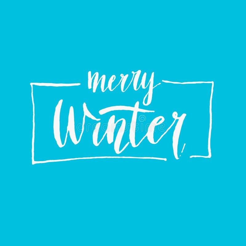 Modern hand dragit bokstäveruttryck glad vinter Kalligrafiborste och färgpulver stock illustrationer