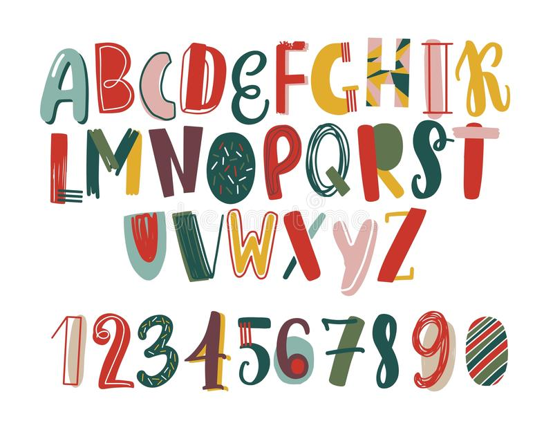 Modern hand drawn latin font or english alphabet for children decorated with scrawl. Bright letters arranged in royalty free illustration