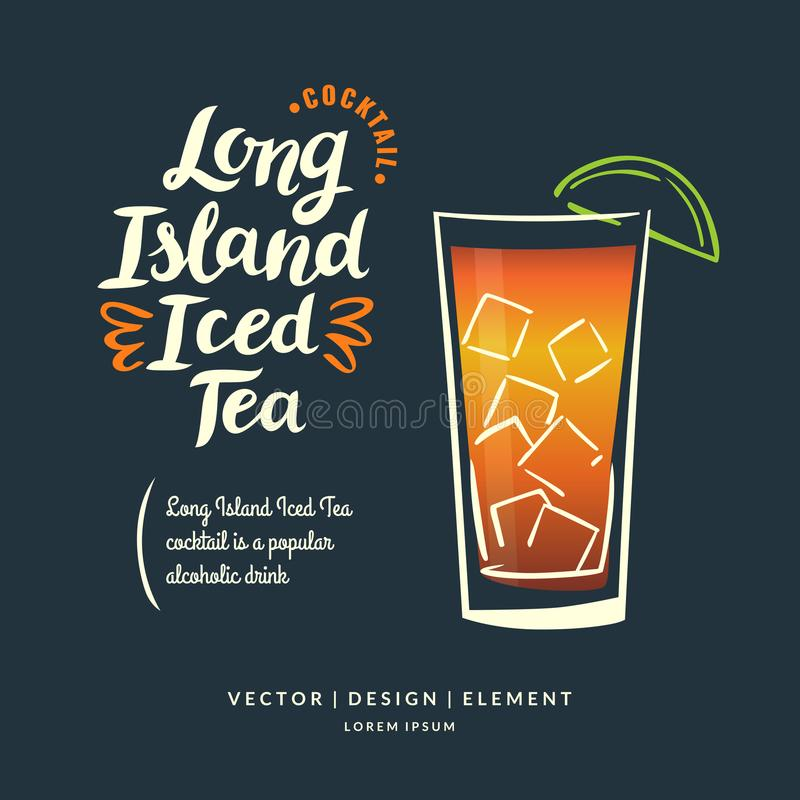 Modern hand drawn lettering label for alcohol cocktail Long Island Iced Tea. Calligraphy brush and ink. vector illustration