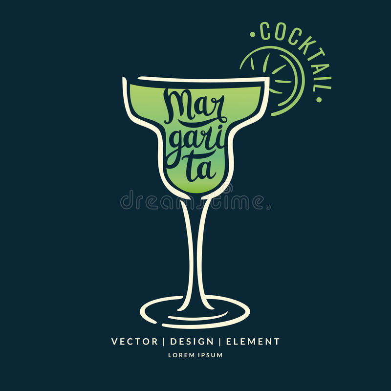Modern hand drawn lettering label for alcohol cocktail Margarita. Calligraphy brush and ink. Handwritten inscriptions for layout and template. Vector vector illustration
