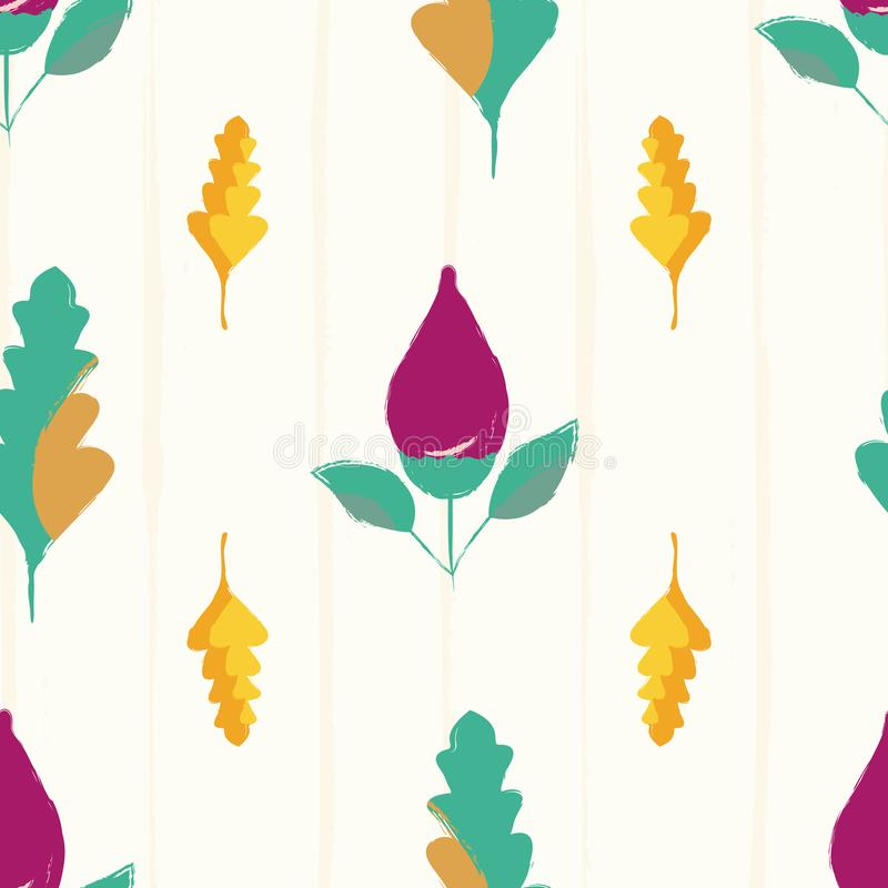 Modern hand drawn purple flower buds and multicolor leaves. Seamless vector pattern on subtle grunge striped background stock illustration
