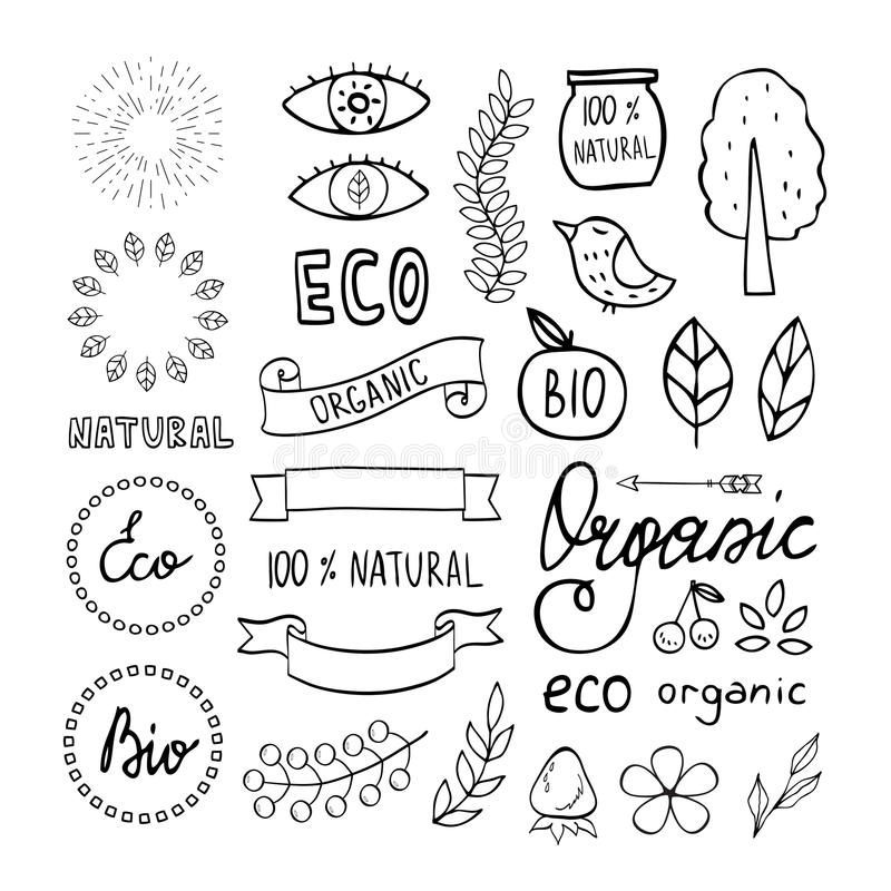 Modern hand getrokken organisch elementenontwerp stock illustratie
