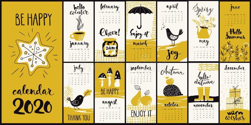 Modern handritad teckningsvektor 2020-kalender med månatliga symboler i gul färg vektor illustrationer