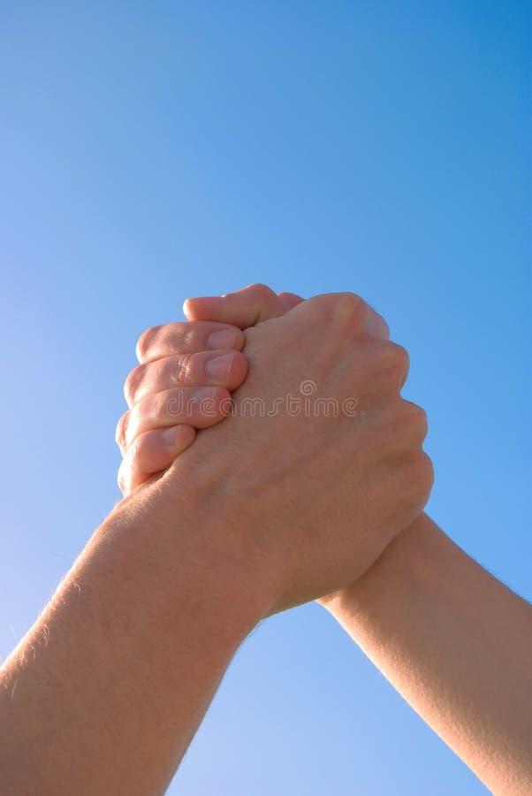 Modern handshake royalty free stock photo