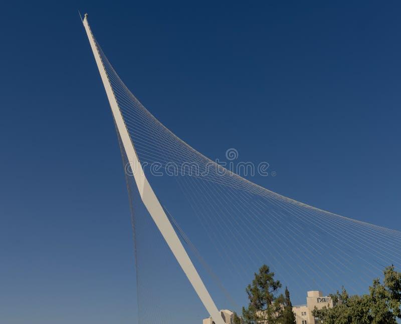 Modern harpa för spårvagn för upphängningbro av David i Jerusalem royaltyfri fotografi