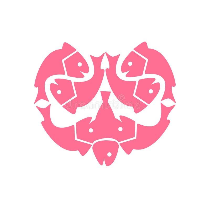 Modern hart van vissen vectorembleem en illustratie stock illustratie