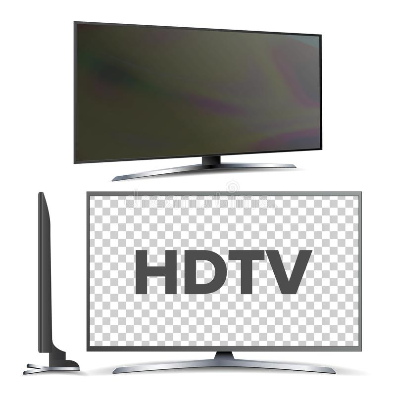 Modern Hdtv Lcd Led Screen Television Set Vector. Model of Hdtv with Large Blank Display Panel. Wall Plasma or Tv Monitor Electronic Digital Media Technology royalty free illustration