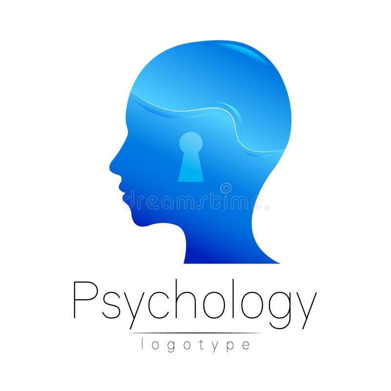 Modern head logo av psykologi Profilmänniska Idérik stil Logotyp i vektor Inskriften av rött färgar lokaliserat över text av vit  royaltyfri illustrationer