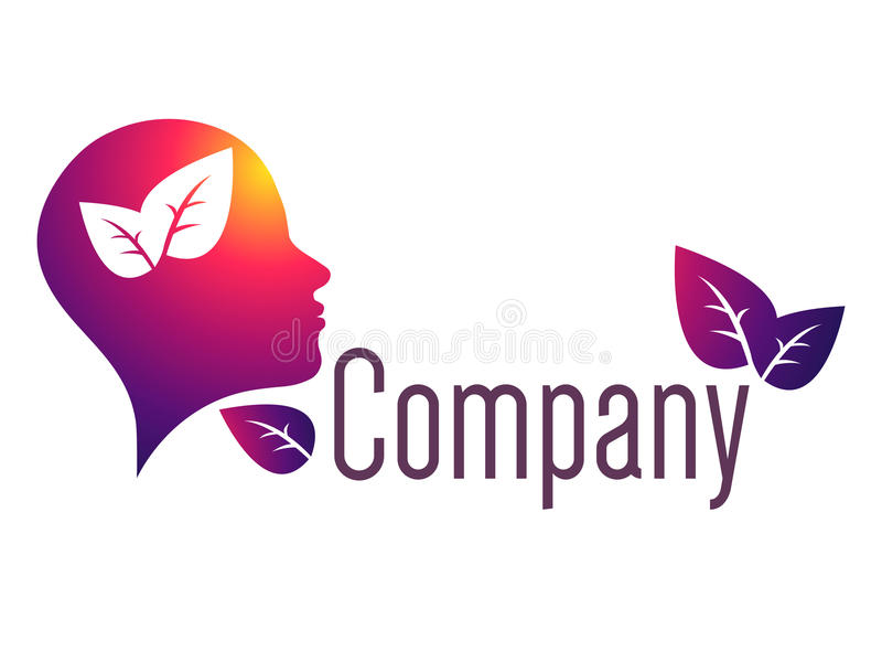 Modern head logo of Psychology. Profile Human. Creative style. Logotype in vector. Design concept. Brand company. Violet. Red color isolated on white background royalty free illustration