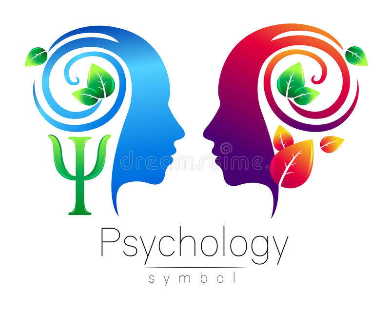 Modern head Logo sign of Psychology. Profile Human. Green Leaves. Letter Psi . Symbol in vector. Design concept. Brand vector illustration