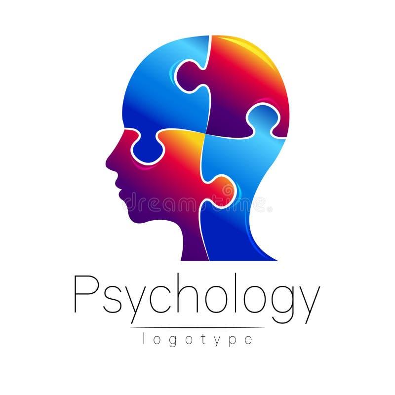 Modern head pussellogo av psykologi Profilmänniska Idérik stil Logotyp i vektor Inskriften av rött färgar lokaliserat över text a stock illustrationer