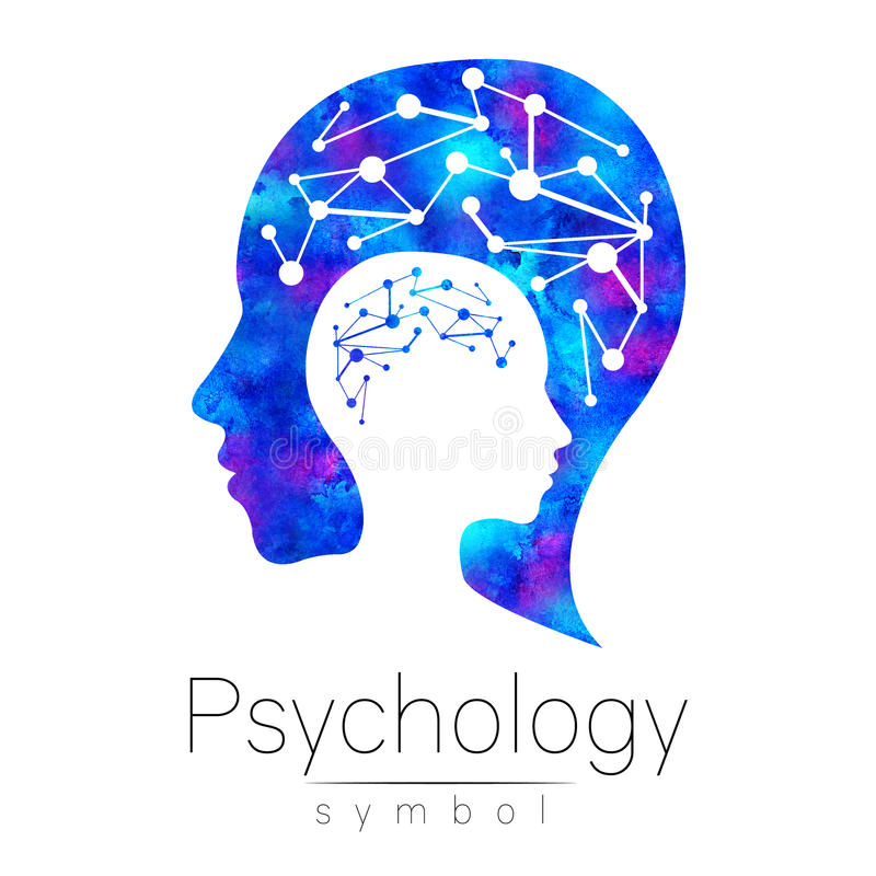 Modern head sign logo of Psychology. Profile Human. Logotype. Creative style. Symbol in . Design concept. Brand company. Blue watercolor color isolated on royalty free illustration