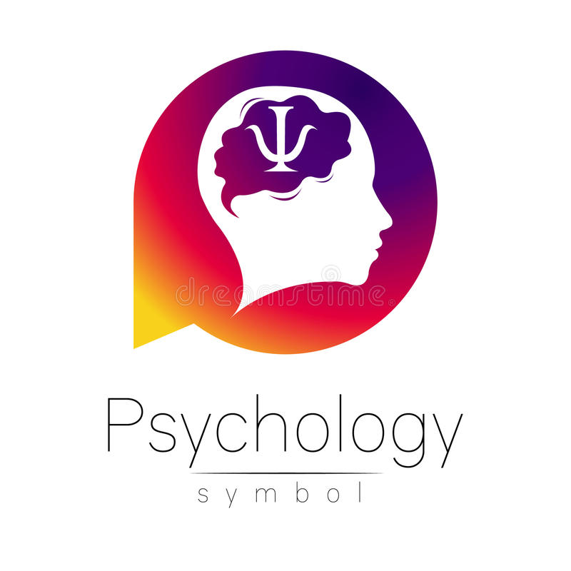 Modern head Sign of Psychology. Human in a circle. Creative style. Icon in vector. Design Brand company. Violet color stock illustration