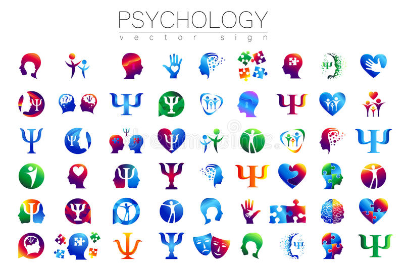 Modern head sign Set of Psychology. Profile Human. Creative style. Symbol in vector. Design concept. Brand company. Green blue orange violet color isolated on stock illustration