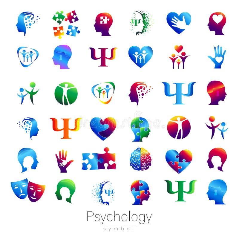 Modern head teckenuppsättning av psykologi Profilmänniska Idérik stil Symbol i vektor Inskriften av rött färgar lokaliserat över  royaltyfri illustrationer