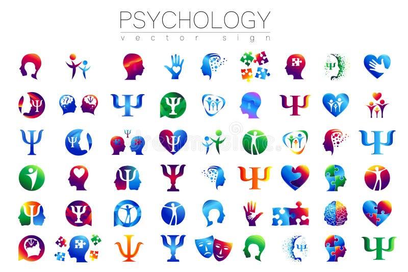 Modern head teckenuppsättning av psykologi Profilmänniska Idérik stil Symbol i vektor Inskriften av rött färgar lokaliserat över  stock illustrationer