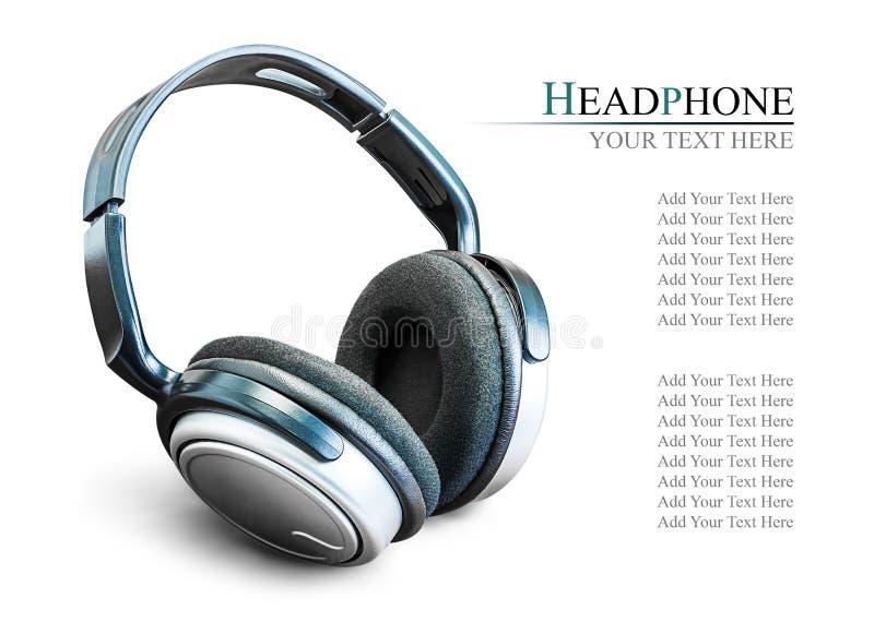 Modern headphone. Modern black headphone on the wooden background stock photo