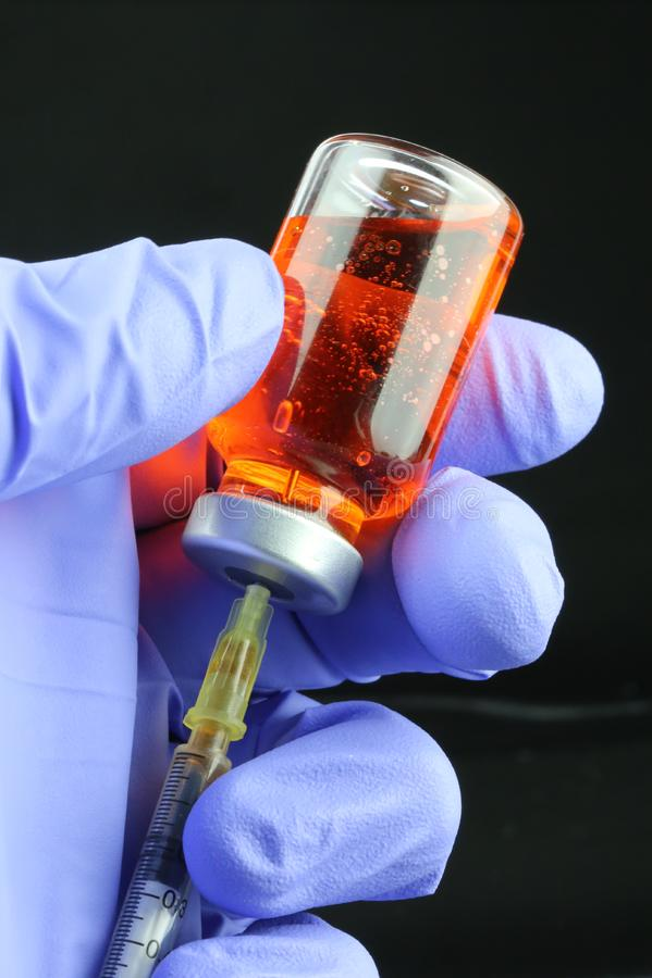 Flu Vaccine Syringe and Hypodermic needle. Modern healthcare of Syringe and Hypodermic needle stock photo