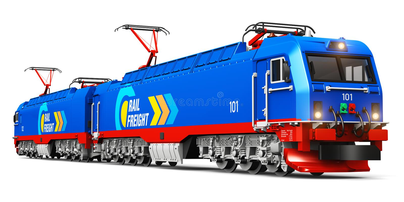 Modern heavy freight electric locomotive stock illustration