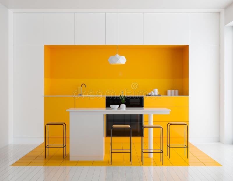 Modern helder keukenbinnenland Het ontwerp van de Minimalistickeuken met bar en krukken 3D Illustratie stock foto's