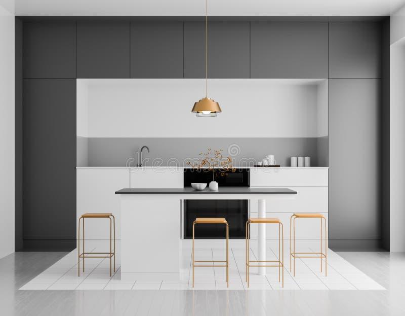 Modern helder keukenbinnenland Het ontwerp van de Minimalistickeuken met bar en krukken 3D Illustratie stock afbeelding