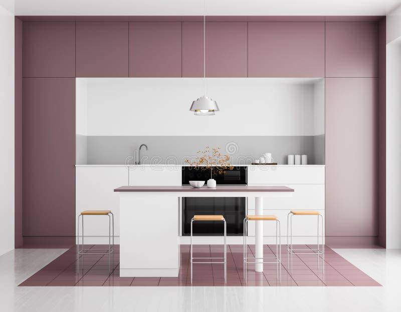 Modern helder keukenbinnenland Het ontwerp van de Minimalistickeuken met bar en krukken 3D Illustratie stock foto