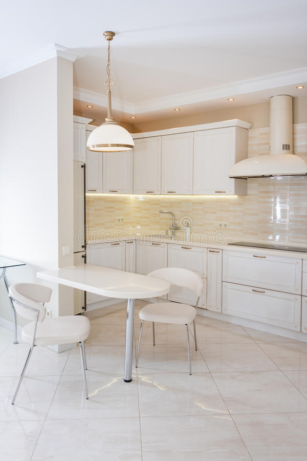 Modern, helder, schoon keukenbinnenland in een luxehuis Binnenlands ontwerp met klassieke of uitstekende elementen praktisch royalty-vrije stock foto's