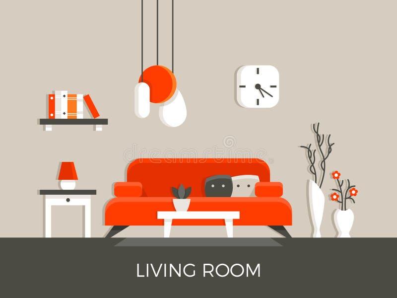 Modern hem- vardagsruminre med möblemangvektorillustrationen stock illustrationer